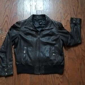 A.N A. BROWN LEATHER BOMBER JACKET SIZE XL